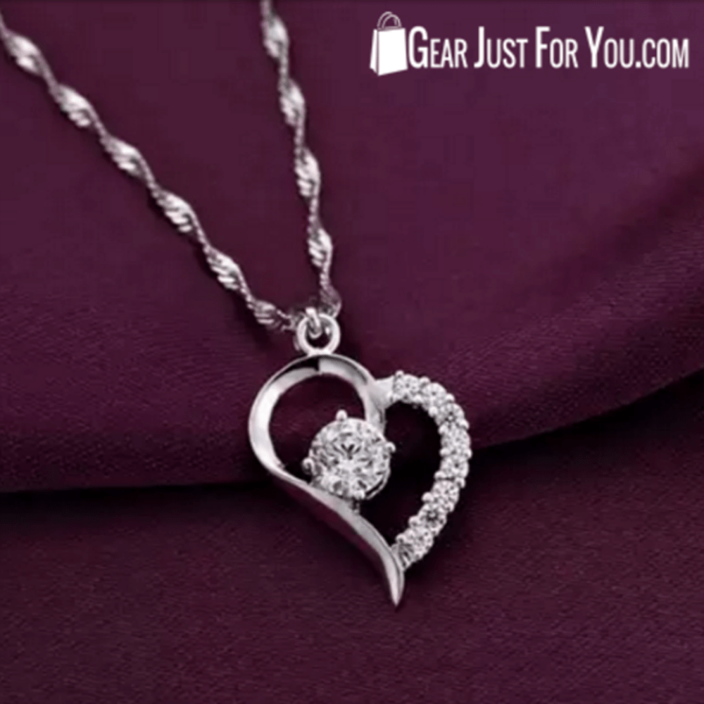 Real White Gold HEART Shaped Pendant Necklace - Gear Just For You.com