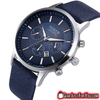 Fashionable ANALOG Quartz Leather Strap Waterproof Men's Round Wrist Watch