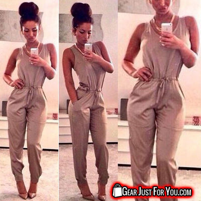 Women's Fashion Casual Long Sleeve Khaki Romper Acrylic Fiber Round Neck Suit - Gear Just For You.com