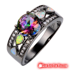 10KT Rainbow Color Opal Gold Filled Black Engagement Ring For Women - Gear Just For You.com