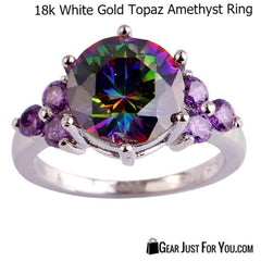 Beautiful Rainbow Topaz & Amethyst .925 Solid Genuine Sterling Silver Ring 18K White Gold