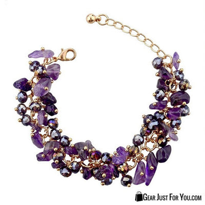 Amethyst Stone Charms Bracelet Surrounded by Sparkling Crystals with White Gold - Gear Just For You.com