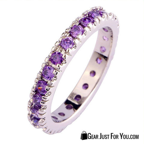 18K White Gold Sterling Silver Amethyst Ring Sparkling Row of Beauty - Gear Just For You.com
