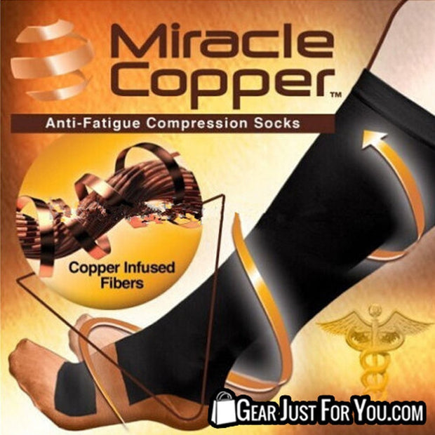 New Miracle Copper Anti Fatigue Compression Black Socks UNISEX - Gear Just For You.com