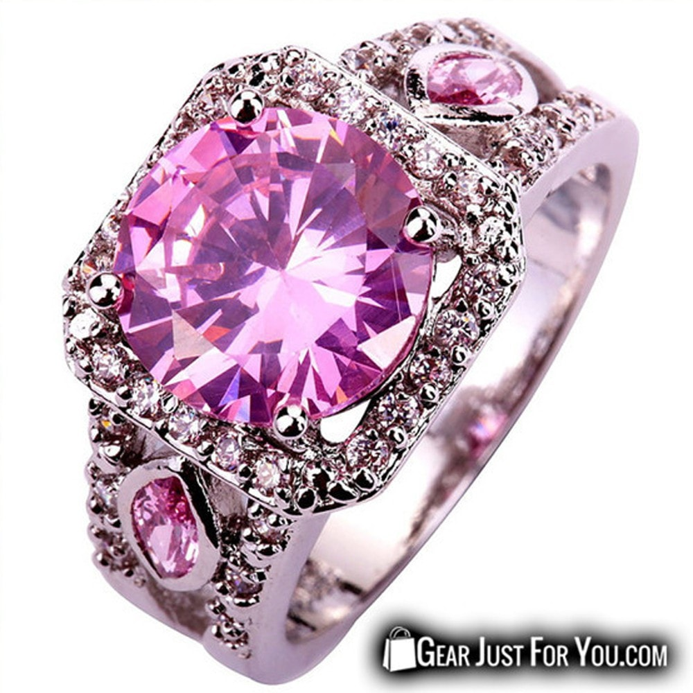 Women Round Cut Pink & White Sapphire Silver Wedding Ring - Gear ...