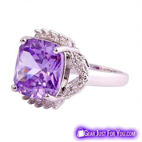 Image of Dazzling Tourmaline & Purple White Topaz Silver Ring For Men & Women - Gear Just For You.com