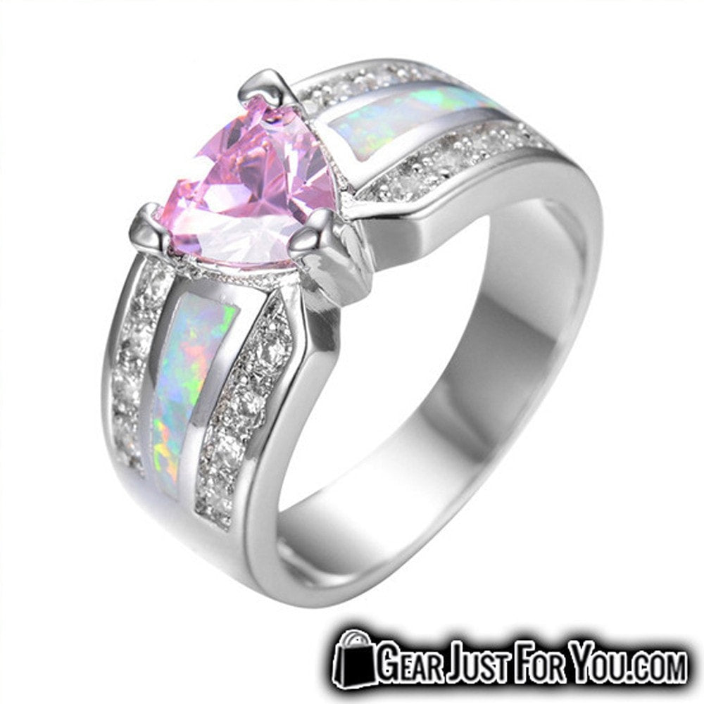 Elegant Pink Heart Opal Wedding Ring For Women Gear Just For You
