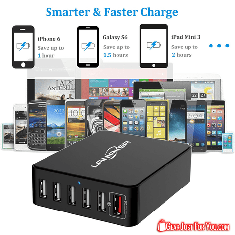 Image of Universal High Speed 6-Port USB Quick Charge Charging Station Power Bank - Gear Just For You.com