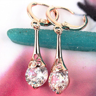 Trendy 18K Rose Gold White Sapphire Stone Pierced Dangle Earrings - Gear Just For You.com