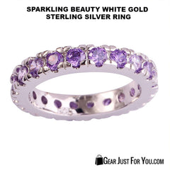 18K White Gold Sterling Silver Amethyst Ring Sparkling Row of Beauty