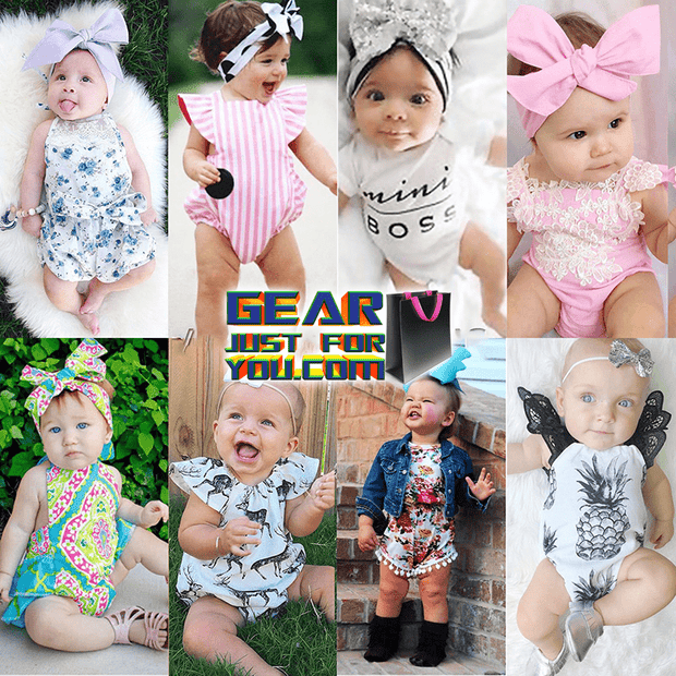 Cute Floral Sleeveless Newborn Baby Girl's Pure Cotton Summer Romper Outfits