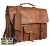 Genuine Leather Classic Retro Vintage Leather Messenger Laptop Briefcase