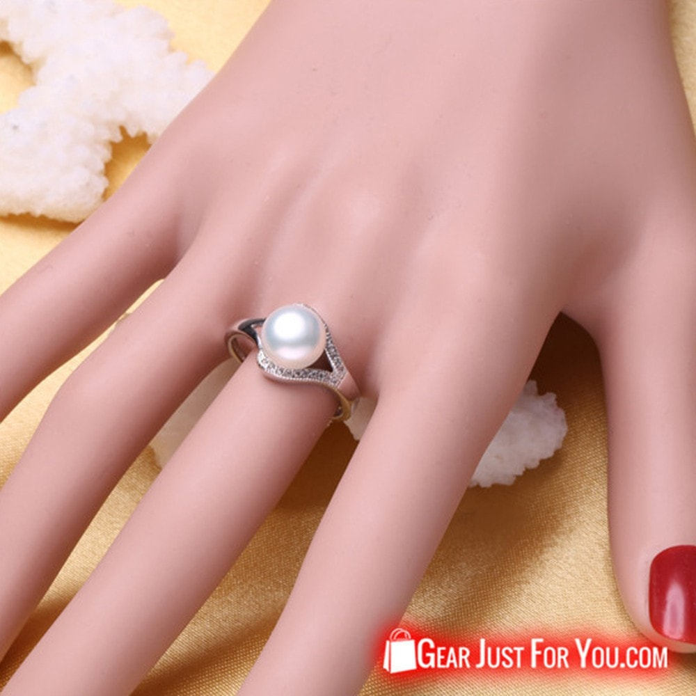 New Elegant Natural Freshwater Pearl Silver Ring For Women - Gear ...