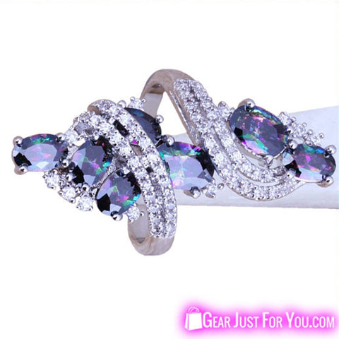 Image of Shiny Rainbow White Topaz Sterling Silver Ring For Women - Gear Just For You.com