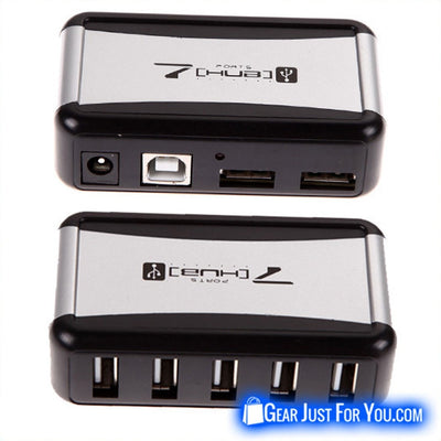 New 7 Port High Speed 2.0 USB HUB with AC Power Adapter For PC & Laptop - Gear Just For You.com