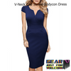Classic Business Style V-Neck Cap Sleeve Slim Fitting Bodycon Dress - Gear Just For You.com