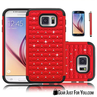 Hybrid Rugged Rubber Bling Crystal Hard Case Cover for SAMSUNG GALAXY S6/S6 Edge - Gear Just For You.com