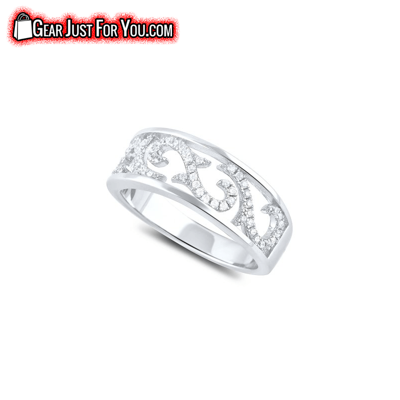 Glamorous RHODIUM Plated Sterling Silver DIAMOND Engagement Ring