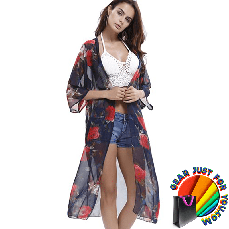Shear Chiffon Lightweight Airy Design Mid-Long Style Unique Beach Cover Up - Gear Just For You.com