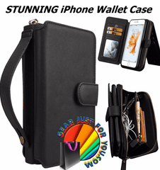 Most Stunning Design iPhone Luxury Leather Multifunction DETACHABLE Wallet Case + Strap