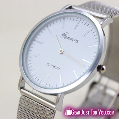 New Geneva Platinum Analog Quartz Stainless Steel Wrist Watch For Man & Women - Gear Just For You.com