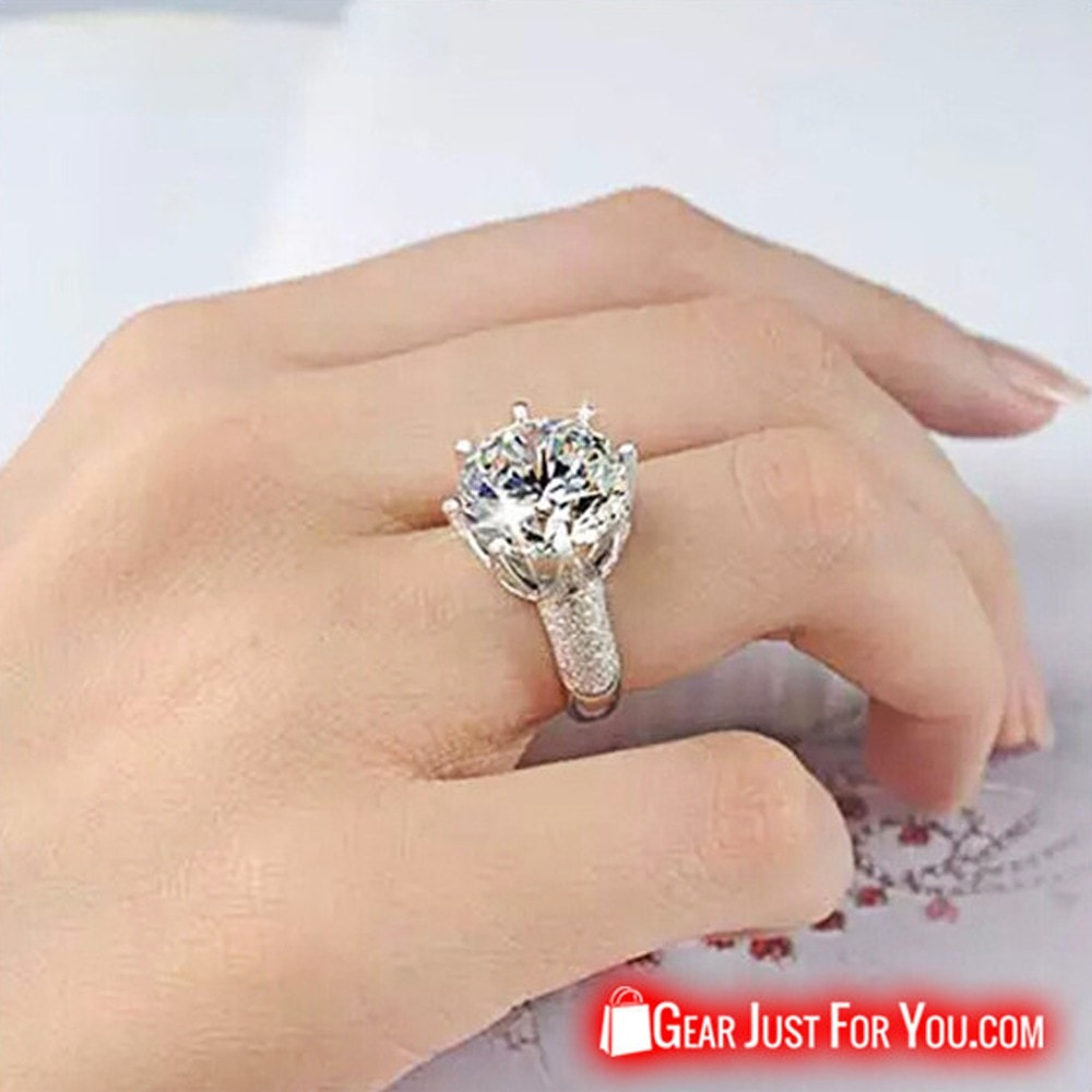 e8ce3447cb25b Luxury Diamond Silver Vintage Ring For Women