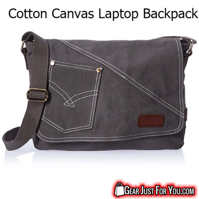 Awesome Durability Cotton Canvas Leather Zips Shoulder Laptop Backpack - Gear Just For You.com