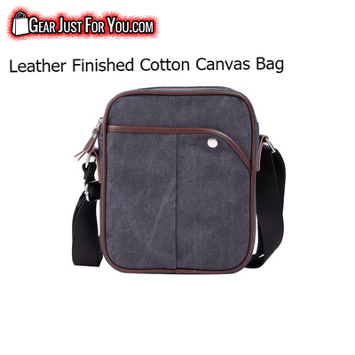 Comfortable Carrying LEATHER Finished HEAVY-Duty Cotton Canvas Business Messenger Bag - Gear Just For You.com