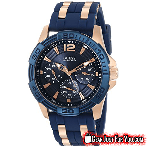 Rose Gold-tone Stainless Steel Chronograph function Analog Display Blue Round Sports Watch - Gear Just For You.com