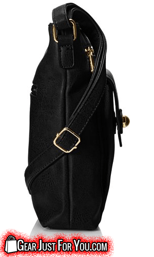 Classic Leatherette Exterior Gold-Tone Scalloped Flap Synthetic Square Cross Body Bag - Gear Just For You.com
