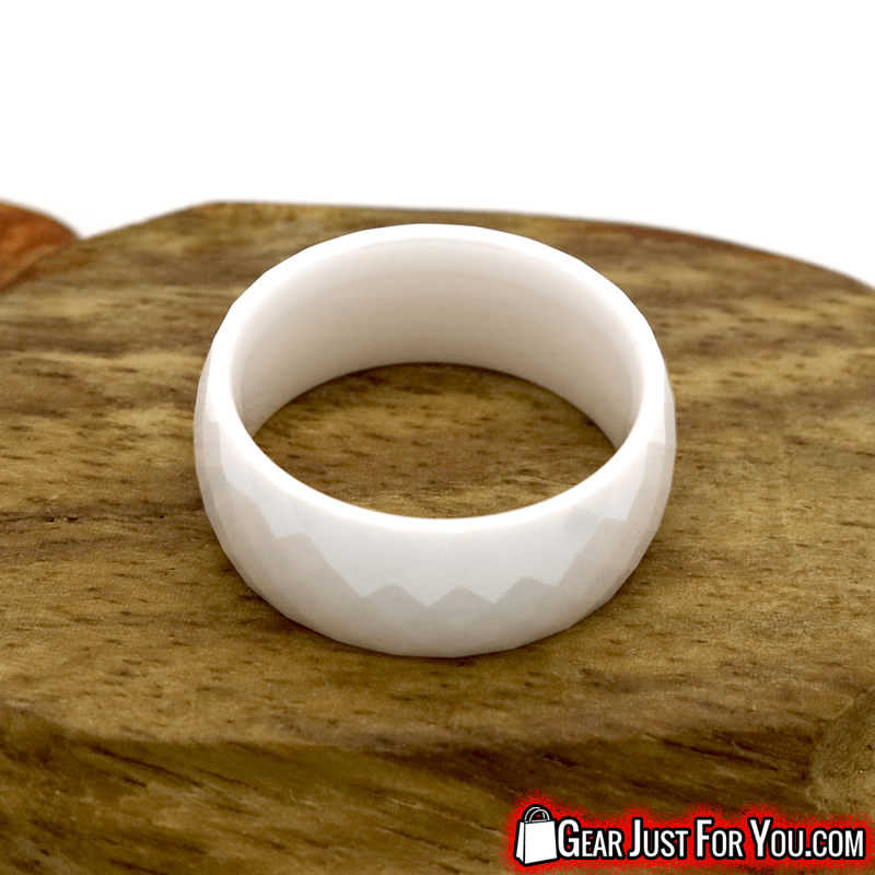 Vintage White Black Ceramic Polygon Round Shaped Wedding Ring - Gear Just For You.com