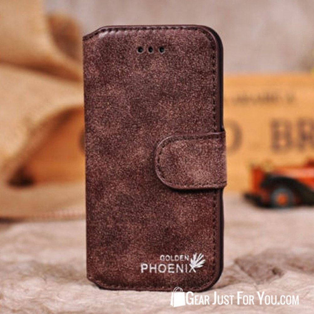 Genuine Leather Flip Credit Card Slot Wallet Stand Cover Case For Samsung