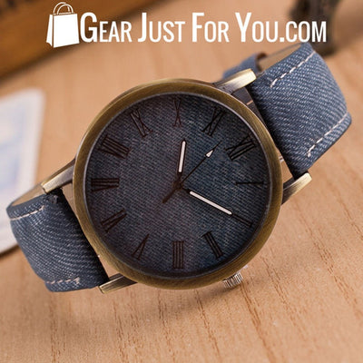 New Men Women Leather Analog Round Casual Cowboy Vintage Quartz Wrist Watch - Gear Just For You.com
