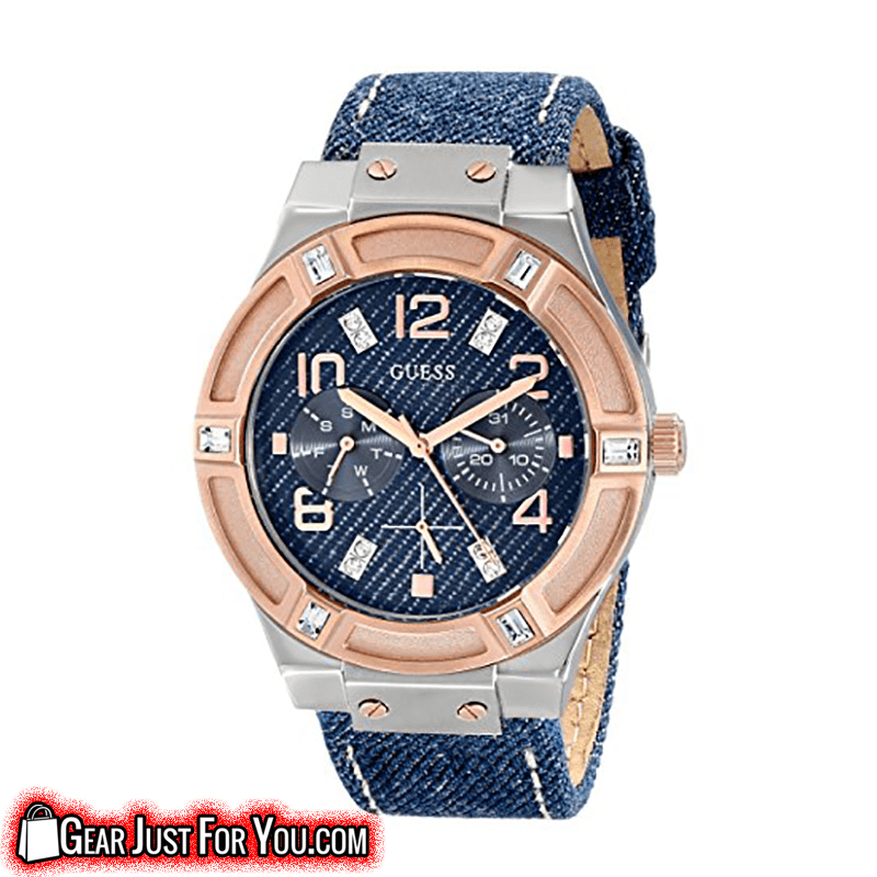 Long Lasting Rose Gold Tone Bezel Blue Analog Quartz Dial Denim Wrapped Band Multi-Functional Wrist Watch - Gear Just For You.com