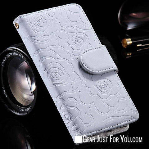 Luxury Rose Magnetic Wallet Leather Case Flip Card Slot for iPhone - Gear Just For You.com