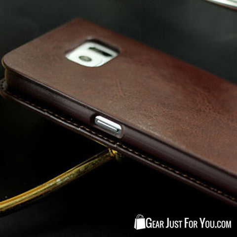 Image of Real Leather Wallet Card Holder Flip Case Cover for iPhone & Samsung - Gear Just For You.com