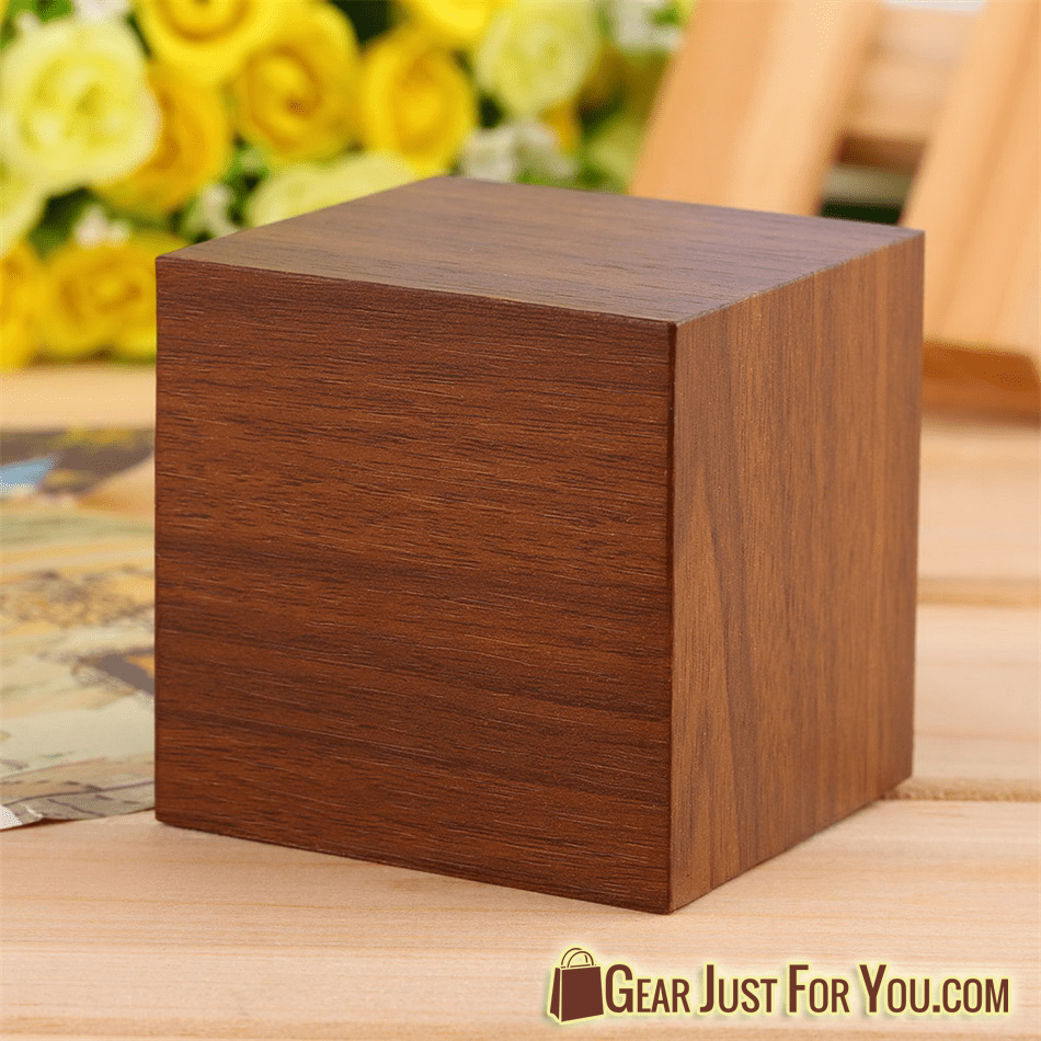 Cube Style Multi Functional Wood Material LED Design Clock Timer  Thermometer Calendar   Gear Just For