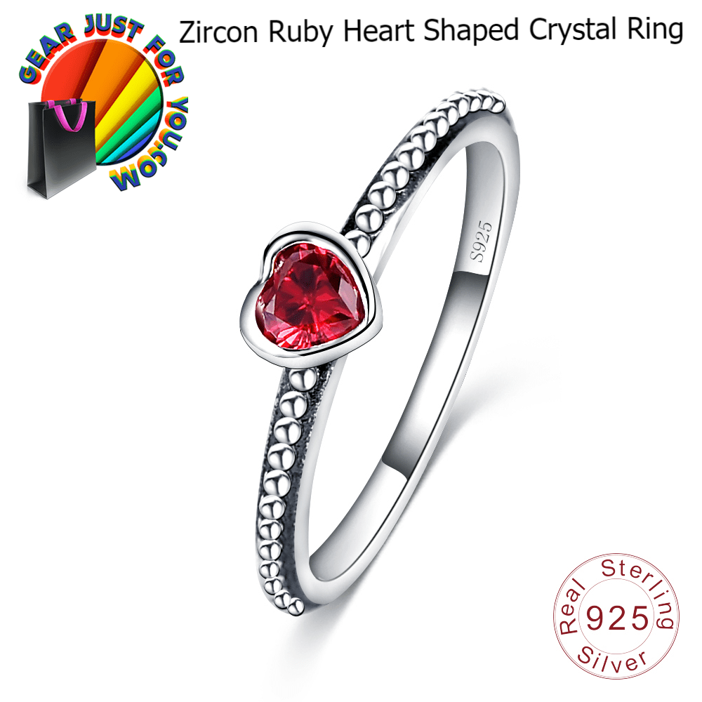 5c12588fd1 Attractive Sterling Silver Zircon Ruby Heart Shape Women's Crystal Wedding  Ring - Gear Just For You
