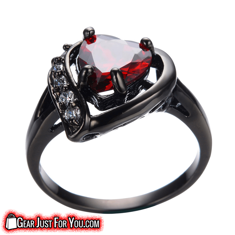 Unique Black Gold Filled Zircon Embedded Heart Cut Ruby Stone