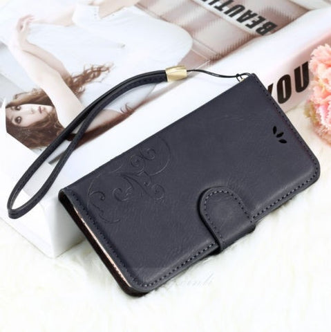 Genuine Leather Flip Wallet Cover iPhone Case