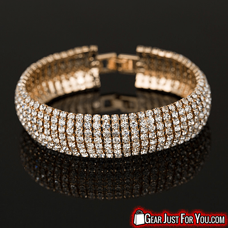 Most Fashionable Gold and Silver Plated Hollow Out Women's Rhinestone Bangle Bracelet - Gear Just For You.com
