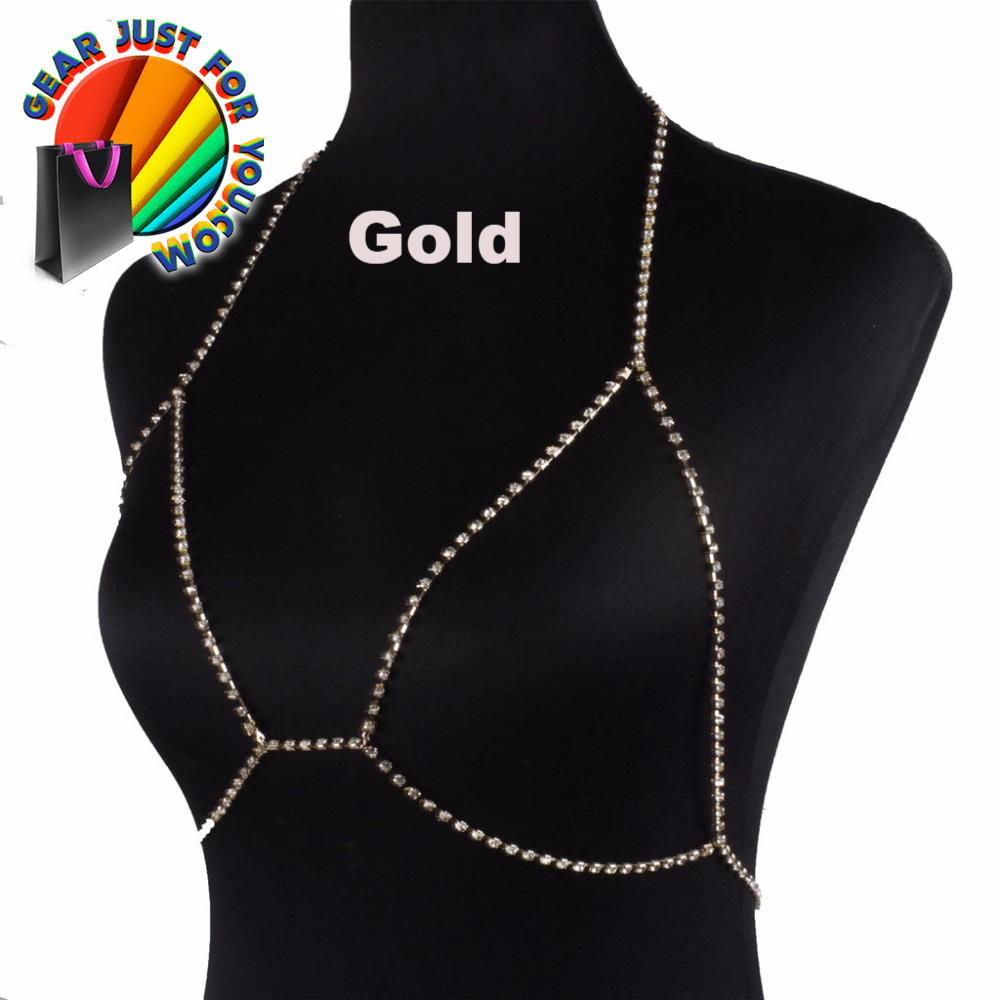 fashion crystal rhinestones chain body women beach bikini bra harness chest necklace jewelry sexy product