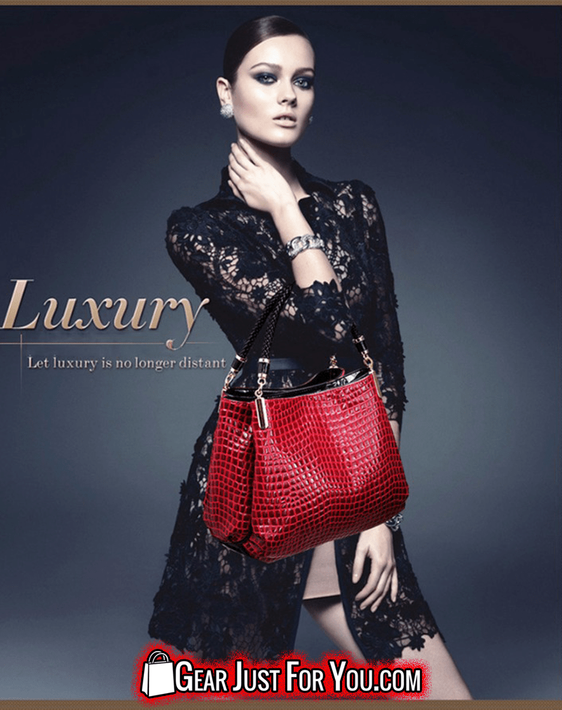 Fashionable Luxury Leather Crocodile Textured Women's Handmade Shoulder Bag