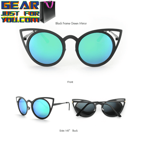 Exclusive Sexy UV Protected Vintage Cat's Eye Women's Metal Mirror Shade Sunglasses