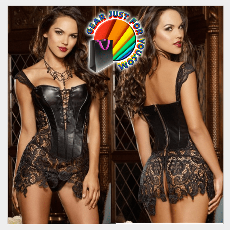 Incredibly Hot Women's Black Leather Bustier Shaper Strap Lace Corset - Gear Just For You.com
