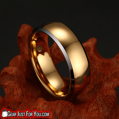 Incredibly Compatible 24 K Gold Plated Tungsten CARBIDE Ring - Gear Just For You.com
