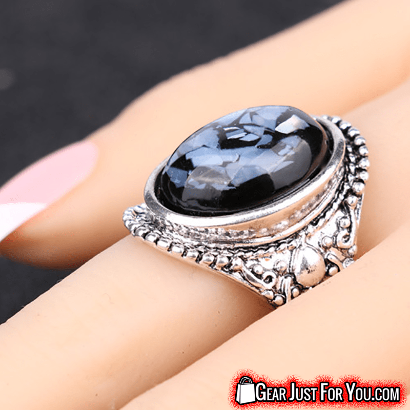 Dazzling Coral Vintage Sapphire Resin Silver Plated Ruby Ring - Gear Just For You.com