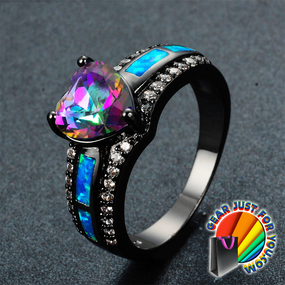 stainless with austrian jewelry zircon beautiful rings wedding crystal color rainbow ring steel