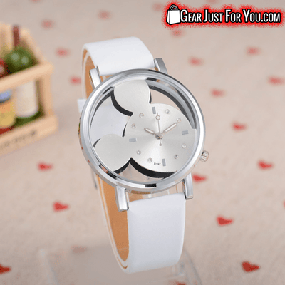 Most Charming Transparent Quartz Dial Mickey Mouse Casual Leather Wrist Watch - Gear Just For You.com