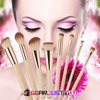 Eco-friendly Bamboo Handle Synthetic Hair 8-Pieces Golden Facial Makeover Brush Set